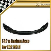 Car styling Glossy Fibre Bumper Splitter Under Spoiler Racing Body Kit Trim Part Fit E92 M3 Carbon Fiber H Style Front Lip