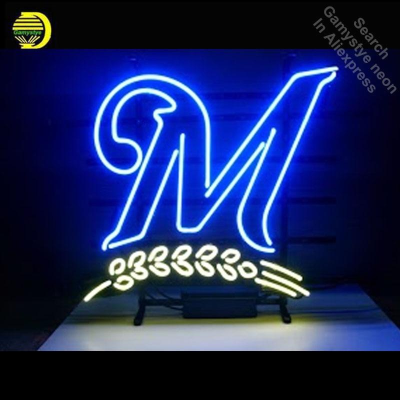 Neon Sign for Miller Beer Blue Classic Neon Bulb sign handcraft neon signboard Decorate Garage neon wall lights anuncio luminos