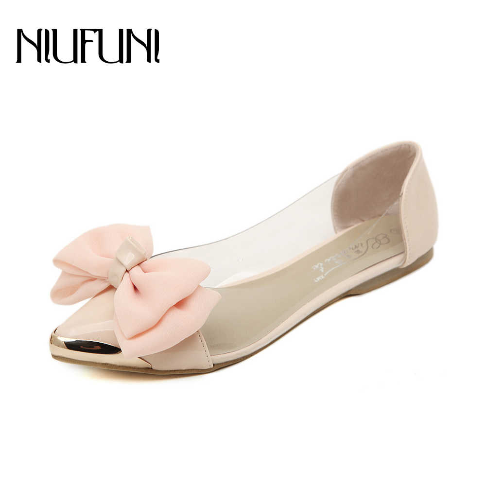 aa1382213c75 NIUFUNI Women Sandals Ballet Shoe Summer Ribbon Bow Pointed Tote Comfort Flat  Shoes Transparent Jelly Shoes