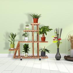 Solido Fiori di Legno Cremagliera Basamento della Pianta 5 Tiers Ripiani Bonsai Mensola di Esposizione con Ruote per Yard Garden Patio Balcone Uso