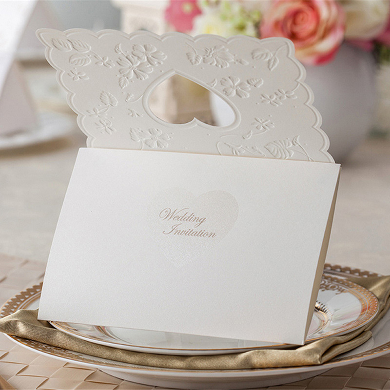 Vintage Lover Heart Lace Wedding Invitations Table Name Place ...