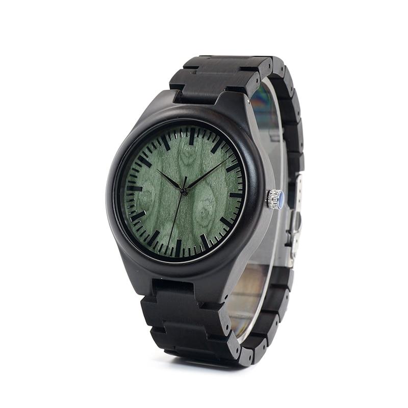 Designer BOBO BIRD L-H03 Men's Watch Full Ebony Wood Fashion Green Dial Face Quartz Movement Montre Homme 20pcs lot 61fc4 to252