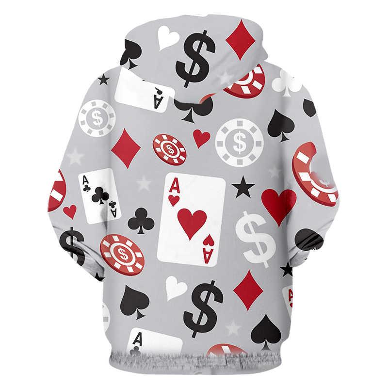 OGKB толстовки для мужчин/wo мужчин с капюшоном повседневное зимнее пальто принт покер 3d кофты пальто на молнии кардиган с капюшоном длинным рукаво