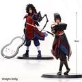 2 pçs/set 18 cm Naruto Sasuke Uchiha Madara Figura de Ação Com Base Japão Anime Coleções Presentes Brinquedos Modelo # F