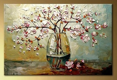 Decor Color Hand Painted Flower Bottle Thick Oil Painting On Canvas Simple Abstract Hotel Wall