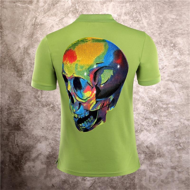 2019 New Men   Polo   Shirt Lapel Collar Slim   Polos   Shirts High Quality Printed Diamond Skull Embroidery Classic Male Clothing M-3XL
