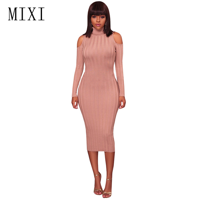 MIXI Women Sweater Dresses Autumn Winter Turtleneck Elegant Long Knitted Dress  Sexy Cold Shoulder Long Sleeve Slim Bodycon Dress 1f6687760dd6