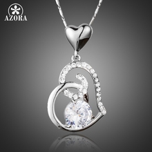 AZORA Valentine's Day Gift of Love Clear Heart Zirconia Pendant Necklace