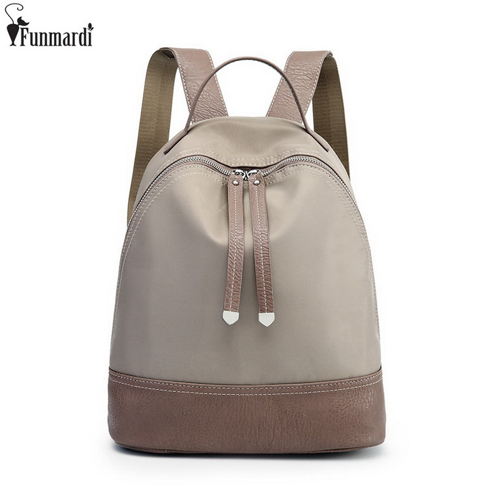 FUNMARDI Waterproof nylon School Bags Wild Stitching Women Shoulder Bag New Arrival Fashion Backpack British Casual Bag WLAM0053 2017 new arrival leather backpack casual bags