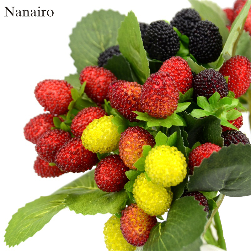 1Bouquet/9 Heads Artificial Fruit Foam Strawberry Fake Simulation Glass Fruit Red Cherry For Home Wedding Party Decoration
