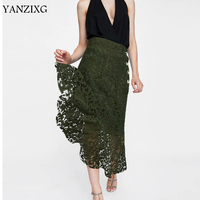Lace Skirt Women Summer Autumn Sexy Floral Long Skirt Asymmetrical Hollow Out Clothes For Ladies Elegant Women Lace Summer E046