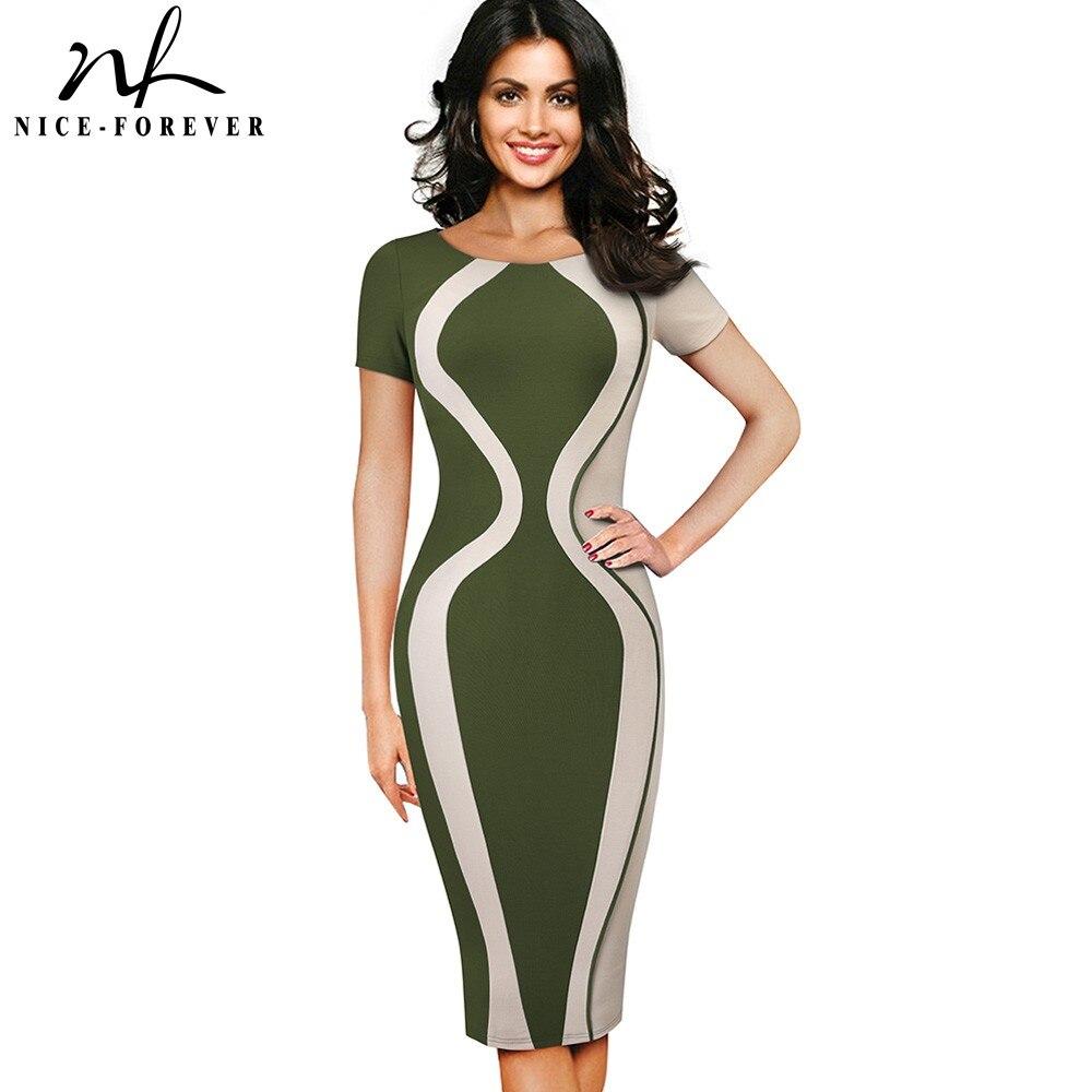 Nizza-für Immer Vintage Kontrast Farbe Patchwork Büro Vestidos Business Party Frauen Elegante Arbeit Bodycon Weibliche Kleid Btyb315 SorgfäLtige Berechnung Und Strikte Budgetierung