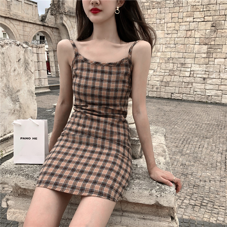 Summer Dress 2018 Korean Style Sexy Plaid Spaghetti Strap Slim Mini Dress Women (R9953)