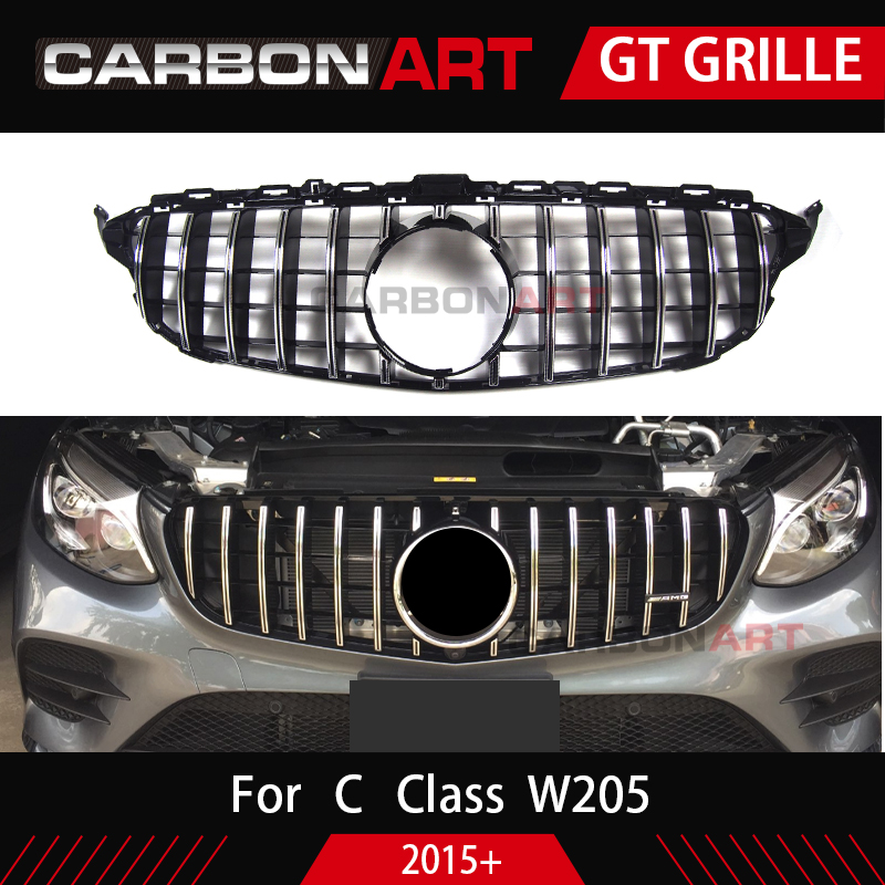 W205 grille GTR GT R Style for Mercedes Class W205 Front Bumper mesh Radiator Grill for C class w205 2015+ Car racing grille