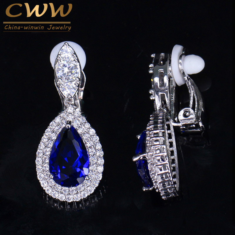 CWWZircons Fashion Women White Gold Color Dangle Drop CZ Royal Blue Crystal Paved No Pierced Ear Clip On Earrings Jewelry CZ164 2018 new clip no pierced jewelry young girl women delicate micro pave black cz stack 925 silver fashion elegant ear cuff earring