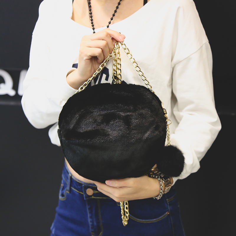 Prix pour 2016 Hiver Nouveaux Sacs À Main de Haute qualité Mode Loisirs Petit Rond sac En Peluche Mini Femmes Sac Doux Fille En Peluche Épaule Femelle sac