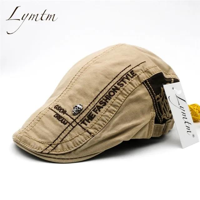 2019 New Style Men Cotton British Letter Embroidery Cabbie Hats Men's Solid Adjustable Vintage Classic Newsboy Cap 5 Colors
