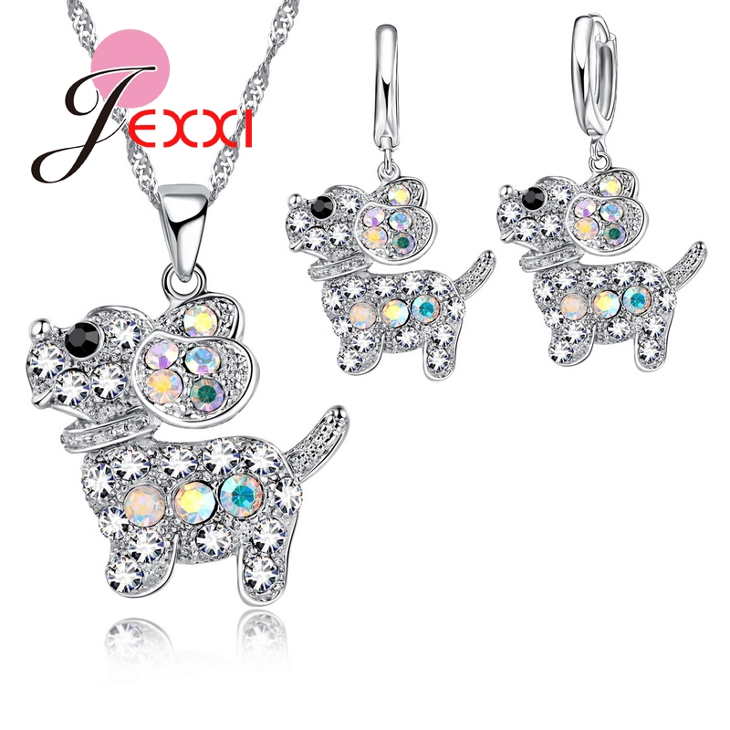 Mosaic African AAA Colourful Crystal Cartoon Cute Dog Puppy Necklace Drop Earrings Jewelry Sets Women Girl Best Gifts
