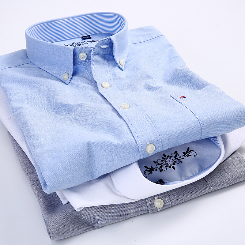 Short sleeve Men's Shirt Summer Button collar oxford fabric slim fit breath comfrotable  fashion business mens casual shirts 5