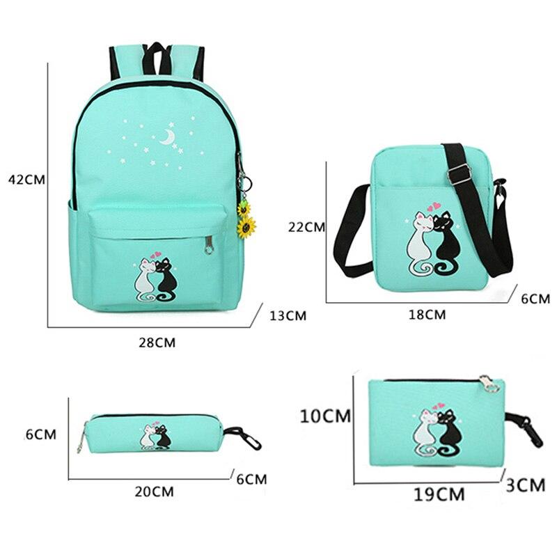 4Pcs set women backpack schoolbag korean rucksack cut school bags for teenager  girls student bag set canvas backpacks-in Backpacks from Luggage   Bags on  ... 0baacf08d0678