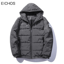 EICHOS Men's Winter Jacket Large Size Solid Parka Homme With Hooded Thick Parka Coat Male Casual Pocket Zipper Overcoat DMY2503