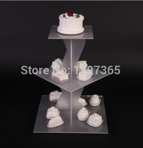 Us 45 0 Free Shipping Cheap 3 Tier Square Scrub Acrylic Wedding Cupcake Stand Acrylic Birthday Cake Stand Psatry Rack In Cake Decorating Supplies