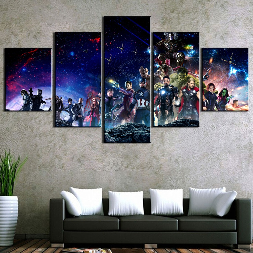HD Print 5 Piece Avengers Infinity War Movie Poster Paintings on Canvas Wall Art for Home Decorations Wall Decor Wall Picture in Painting Calligraphy from Home Garden