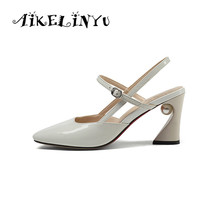 AIKELINYU Women Genuine Leather Sandals Sexy Party Lady Pointed Toe Pumps Square Heel Buckle Strap Fashion Pearl Shoes