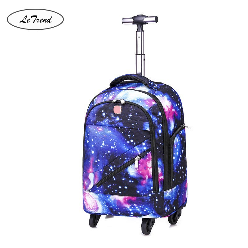 LeTrend Multifunction Shoulder Travel Bags Rolling Luggage Spinner Women Men Suitcase Wheels 18 inch Students Cabin