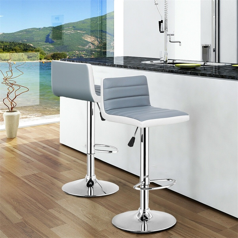 High Quality Set Of 2 Adjustable Gray PU Leather Bar Stools Comfortable Height Adjustable Swivel 360 Degrees Chairs HW54929