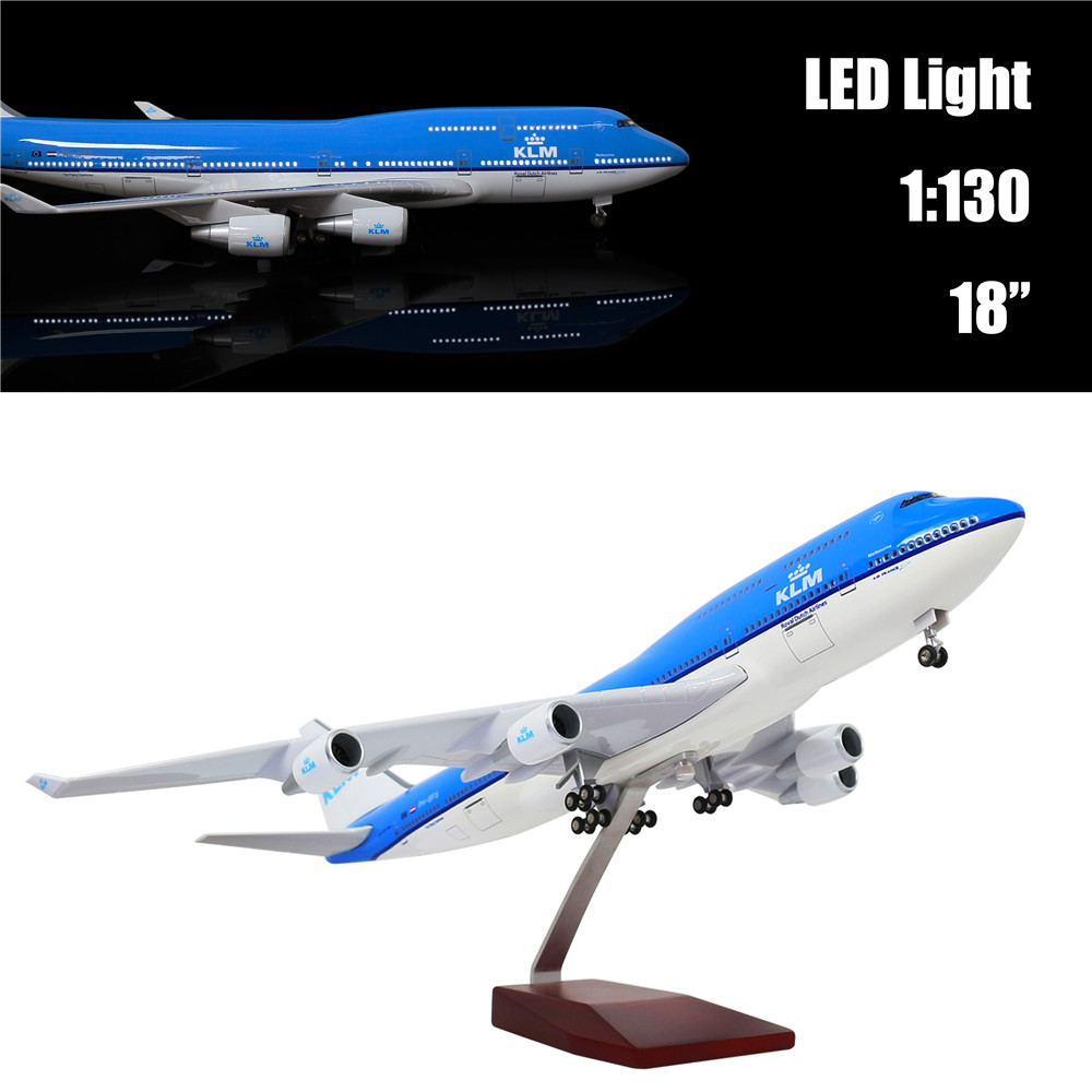 46CM 1:130 Diecast Airplane Model Holland Boeing 747 with LED Light(Touch or Sound Control) Plane for Decoration or Gift image