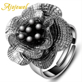 Ajojewel Brand Vintage Female Jewelry Gun Black Big Flower Shaped Open Ring Women Fashion