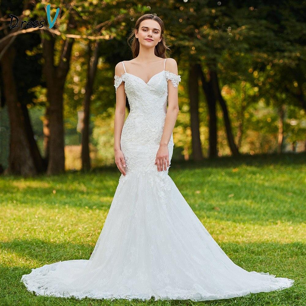 Dressv ivory wedding dress spaghetti strapless bridal trumpet button elegant outdoor&church beading lace mermaid wedding dresses
