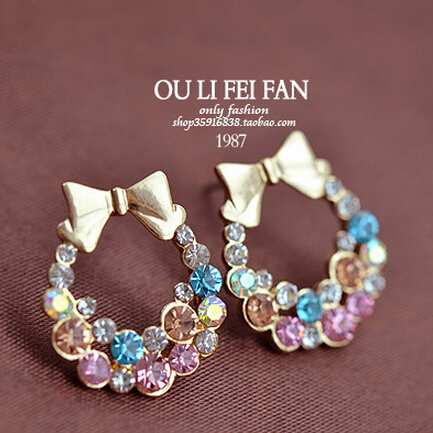Imitation Colorful Rhinestone Bow Earrings
