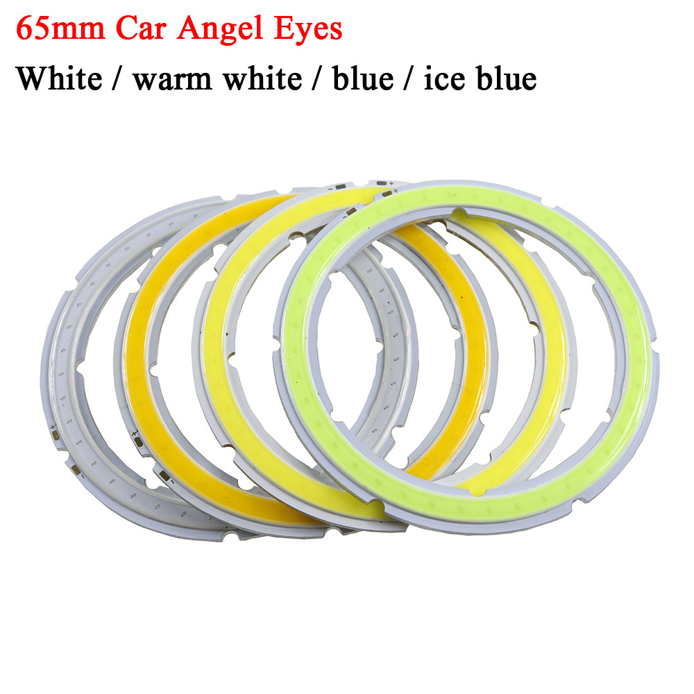 2PCS cob-angel eyes DC 12V-14V Auto Halo Rings Angel Eye COB Headlight 65MM Drl Led Angel Eyes Motorcycle Car accessories Decor