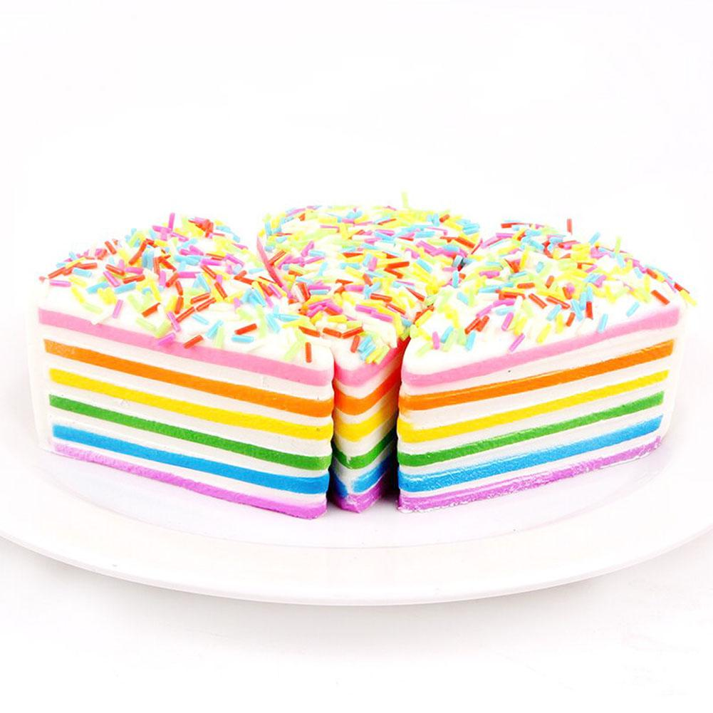 Simulate PU Triangle Colourful Cake Slow Rising Squishy Squeeze Toy Stress Reliever Kid's Toy Gift