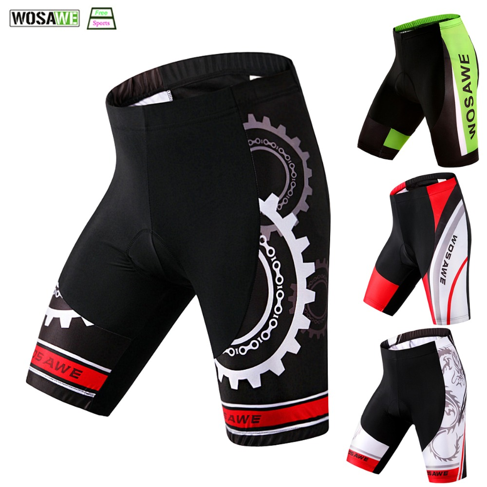 WOSAWE Men Women Mtb Mountain Bike Bicycle Cycling Padded Silicone Shorts Underwear Shorts Black bermuda ciclismo Tights