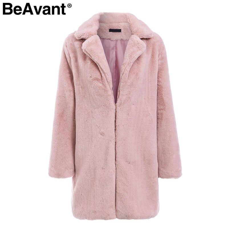 BeAvant Elegante lange faux pelz mantel Frauen 2018 Herbst winter warme weiche rosa pelzmantel Weibliche casual luxus plüsch mantel outwear