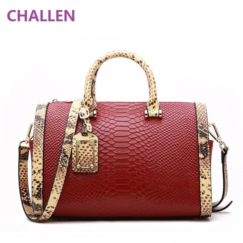 2017 Bags for Women Women Genuine leather bags Boston handbag shoulder bag snake pattern Messenger bag Satchel Shoulder Bag