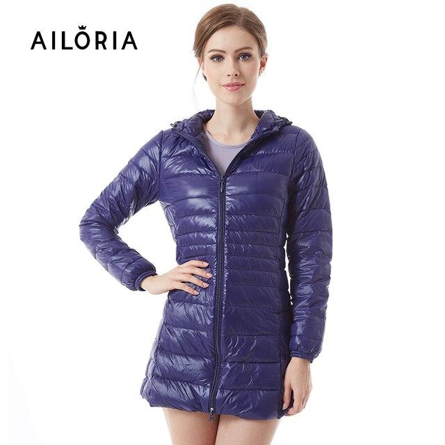 AILORIA 2017 Inverno Longo Sobretudo Primavera Outono Mulheres Ultra Light 90% de Pato Branco Para Baixo Casaco Jaquetas Duck Down Jacket Para mulheres