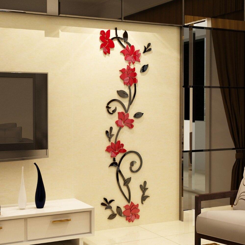 Roses Flower vine entrance hallway TV backdrop Sticker Modern 3D ...