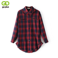GOPLUS Vintage Rivet Pockets Plaid Shirt Long Women Raw Edge Hem Neck Blusa Plus Size Blouse