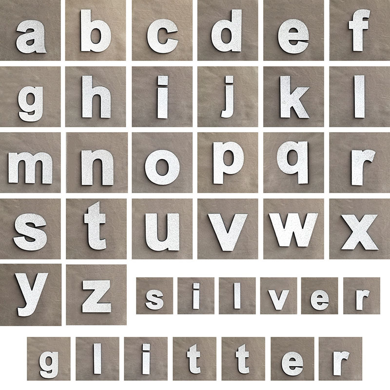 Free Combination Wedding Party Accessories DIY Glitter Silver Lowercase Letters Babys Early Education Wall Stickers Home Decor