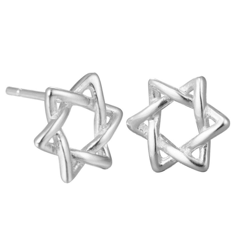 Chereda Double Triangle Cross Geometry Star Complex Dexterity Refreshing Jewelry Weaving Shape Line Stud Earrings For Women Men in Stud Earrings from Jewelry Accessories