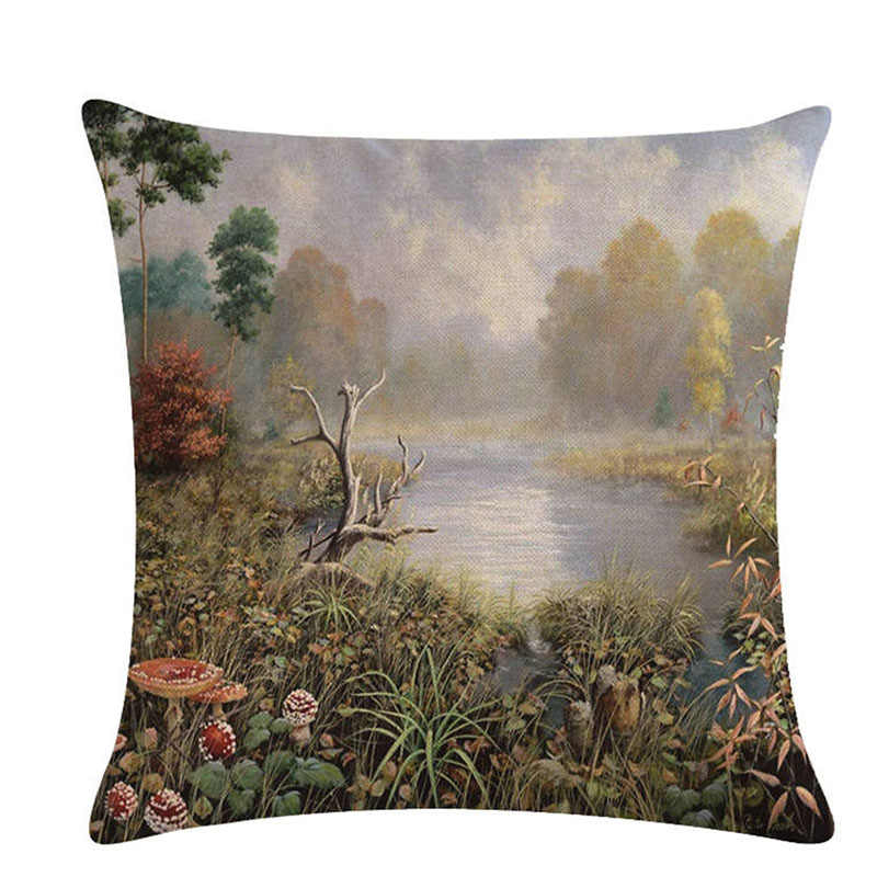 Sofa Seat Cushion Pillow Cover Decorative Faashion Delicate Country Scenery Homer Decor Cushion Pillows Covers
