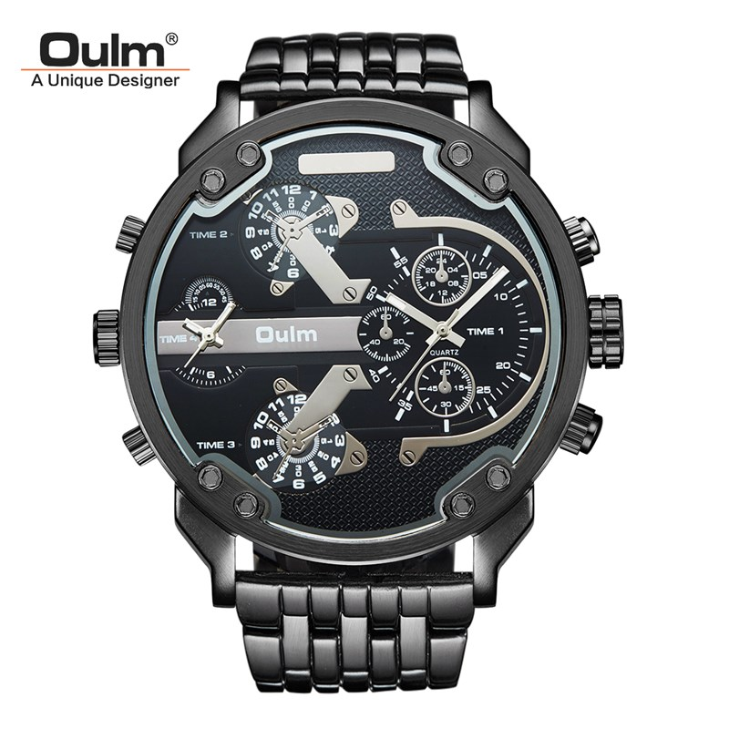 TEAROKE Fashion Cool Men Watch Oulm Brand Luxury Quartz Wristwatch 55mm Big Dial Dual Time Watch Alloy Strap Clock Military oulm brand vogue men leather strap quartz watch waterproof big dial alloy male wristwatch with 3 small dials for decoration
