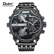 TEAROKE Fashion Cool Men Watch Oulm Brand Luxury Quartz Wristwatch 55mm Big Dial Dual Time Watch Alloy Strap Clock Military