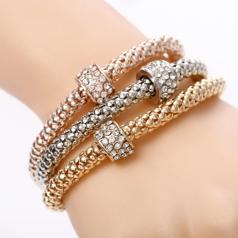 Nice Jewelry Bracelets Circle Cluster Crystal Beads Charm Chain Bracelets & Bangles for Women Banquet Party Pulseria Femininas