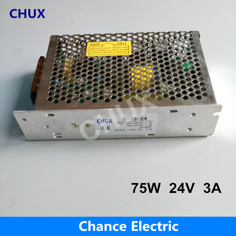 CE Certificate SMPS DC to AC 3A S-75W used for LED Industry Strip Single Output Switching Power Supply 24V 75w s 100 12 100w 12v 8 5a single output ac dc switching power supply for led strip ac110v 220v transformer to dc led driver smps