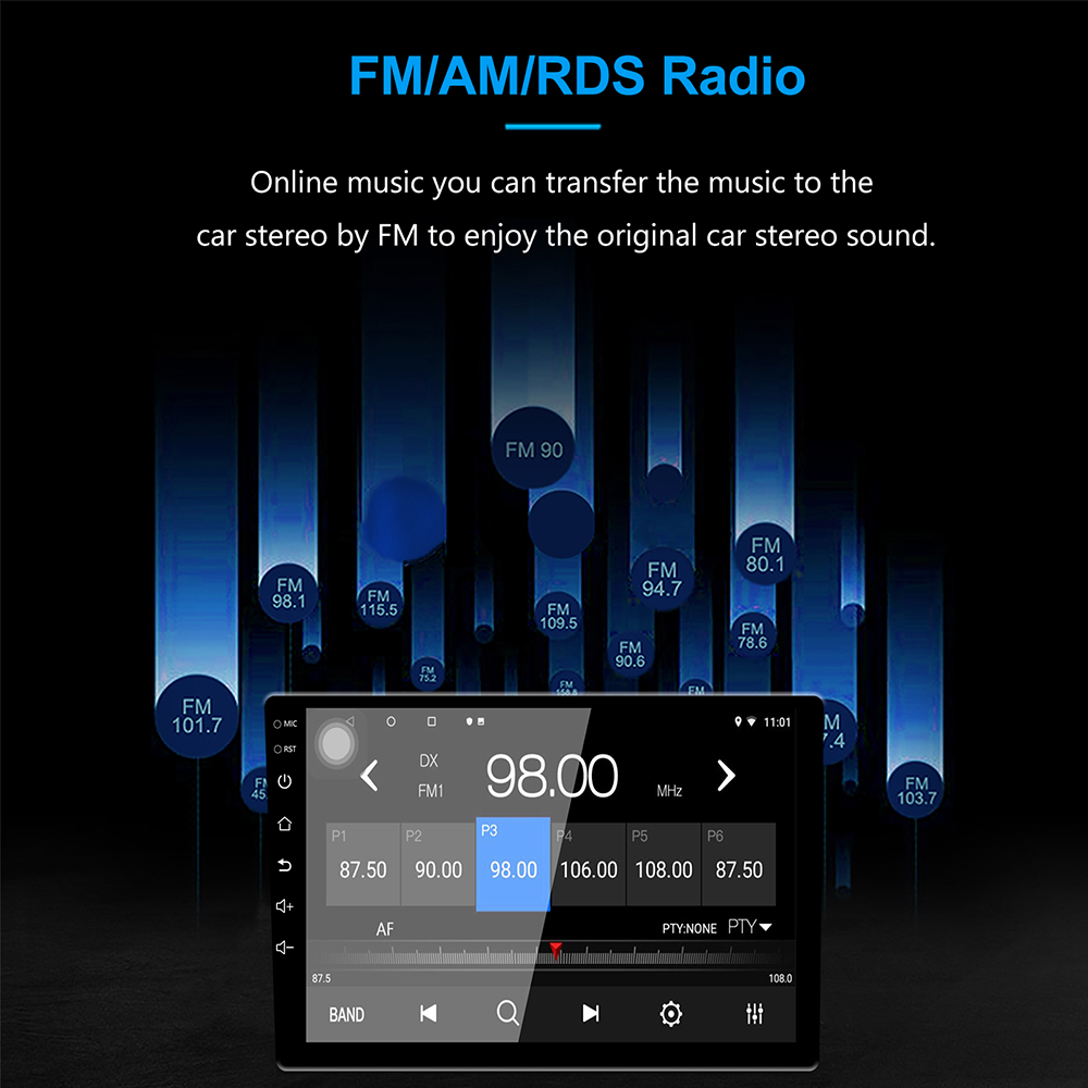 Image 2 - Универсальный 10 дюймов/9 дюймов 2din Android 8,1 автомобиль радио 1080P touch gps навигации Bluetooth wifi SWC RDS FM AM Зеркало Ссылка OBD 2-in Мультимедиаплеер для авто from Автомобили и мотоциклы